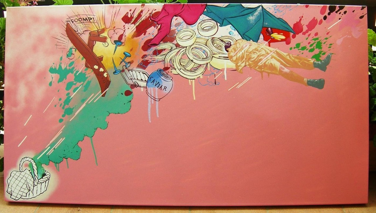 "dixon / ""American Picnic"" /120x65cm / spray paint and enamel on canvas / 2008"