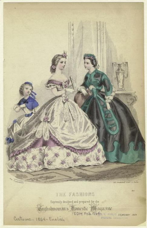 Fashion plate, Feb 1864 England, the Englishwoman's Domestic Magazine