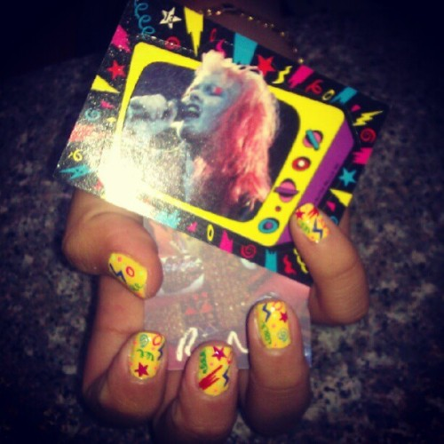 Nails inspired by my Cindi Lauper cards #nails #nailart #nailpolish #manicure #gelish #rianailz #fashion #trends #brooklyn #greenpoint #cyndilauper  (Taken with Instagram at Maritza's Unisex Salon)