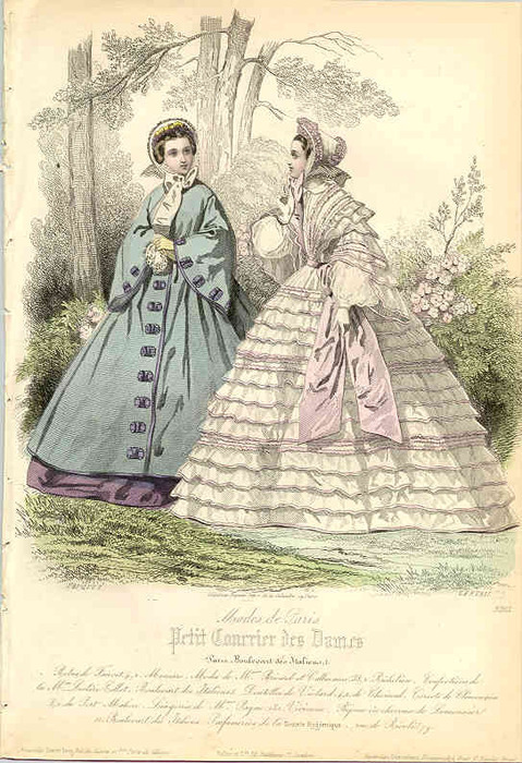 Fashion plate, 1861 France, Petit Courrier des Dames