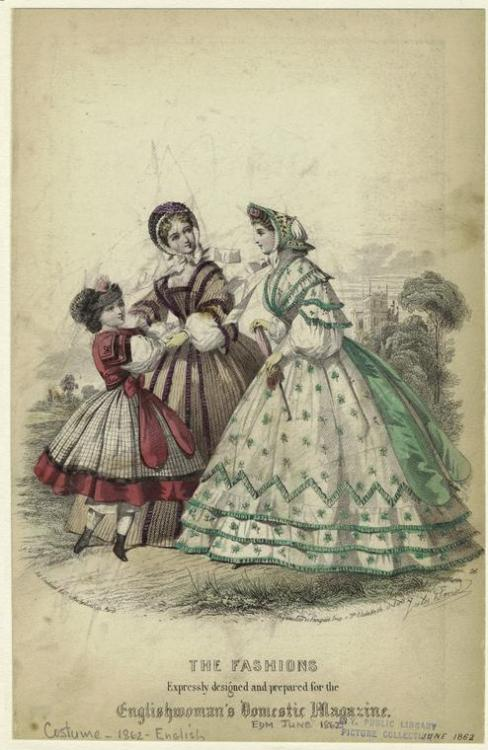 Fashion plate, Jun 1862 England, the Englishwoman's Domestic Magazine