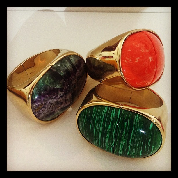 """A trio of statement cuffs with large polishes stones from Nina Ricci resort"" - @WmagWill Follow W editors on Twitter and Tumblr."