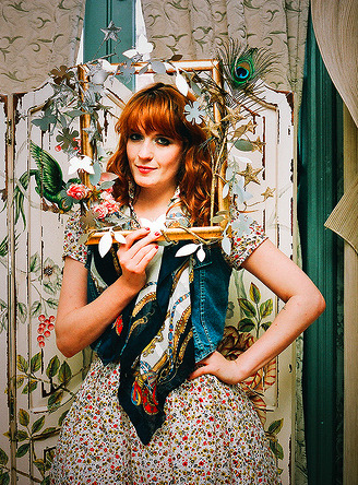 "I've always really adored Florence Welch from Florence and the Machine's sense of style. She's usually sporting some vintage, lace, or floral print something amazing that I would probably BEAT SOMEONE UP FOR. Her song ""Hurricane Drunk"" is one of my favorites off of her album Lungs. LOVE it when the vocals kick in… I just want to turn it up!"