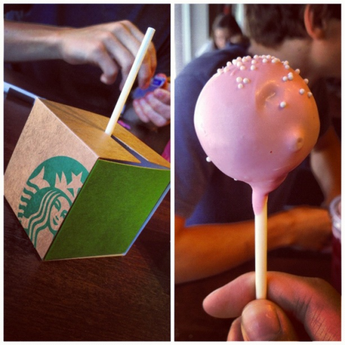 "occasional-karma:  My trip to Starbucks today was especially magical when I by chance got one of the coolest things they had—and hint hint, it wasn't exactly on their menu.    After ordering a cake pop, I was genuinely impressed not by the frosting decor, but rather by the packaging it all came in. It was so clever, and such a co little 4""x4""x4"" cube of WONDER."