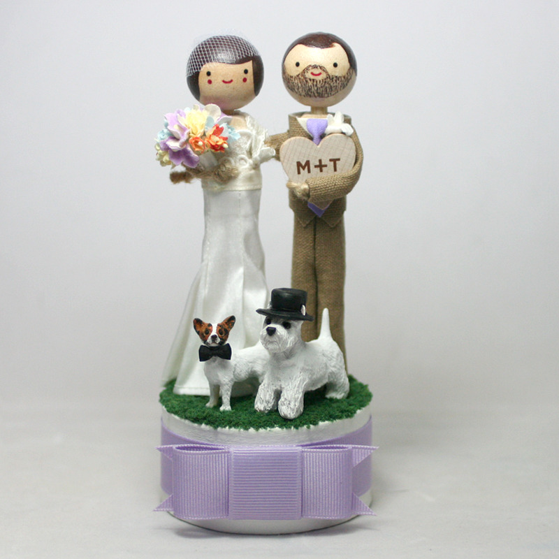 Wedding No. 616 - Custom Wedding Cake Topper with personalized valentine and two pets