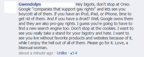 atheist-overdose:  Found this in the comments of oreo's pride post on facebook. she makes a good point.follow for the best atheist posts on tumblr