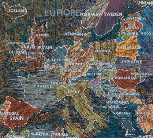 swanngalleries:  Europe 2009 In honor of Euro 2012, an awesomely styled map of Europe. By Paula Scher.  From American/Contemporary Art, June 14th, 2012