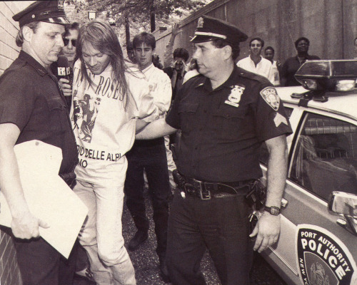 Axl Rose arrested in NYC, Q Magazine, 1992.  Photo: Star File
