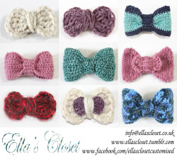 Bows for sale!!! Buy the ones featured or order your own colour and style at no extra cost!!! can be used as bow ties or even brooches. Also check out www.facebook.com/ellasclosetcustomised items for sale! you can contact us at info@ellascloset.co.uk Ella's Closet xx
