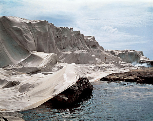 magnificentruin:  Christo and Jeanne-Claude Wrapped Coast, One Million Square Feet, Little Bay, Sydney, Australia, 1968-69