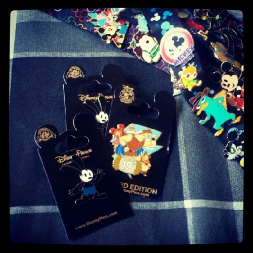 We added three new #disney #pins to our collections; the LE #Hercules pin & two of the new #OswaldTheLuckyRabbit pins.. Man, we are most certainly addicted! (´∇ノ`*)ノ (Taken with Instagram)