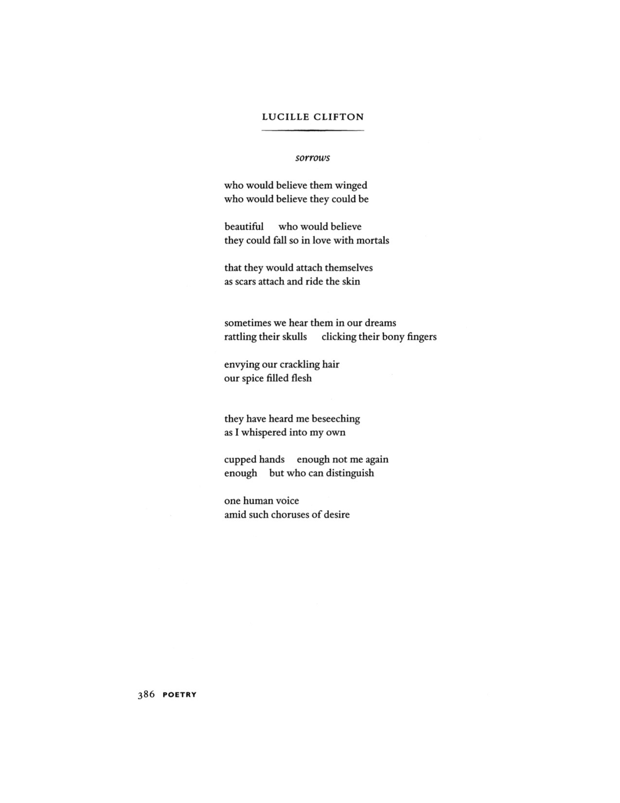 clavicola:  Lucille Clifton (June 27, 1936 – February 13, 2010), Poetry, September 2007
