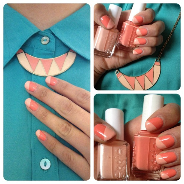 "Coral: Essie ""Tart Deco"" with Essie ""A Crewed Interest"" corners (Taken with Instagram)"