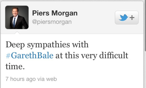 lostmyhearttohotspur:  Piers Morgan's reaction to Bale signing a new contract.  He's such a twat.
