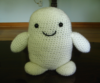 Crocheted Adipose from Doctor Who.