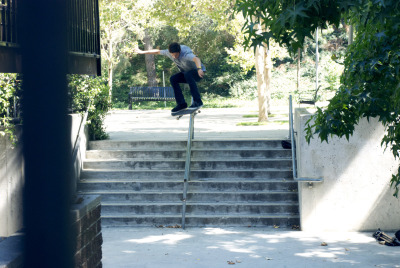 sebastian corral, ollie over scholl canyon rail.