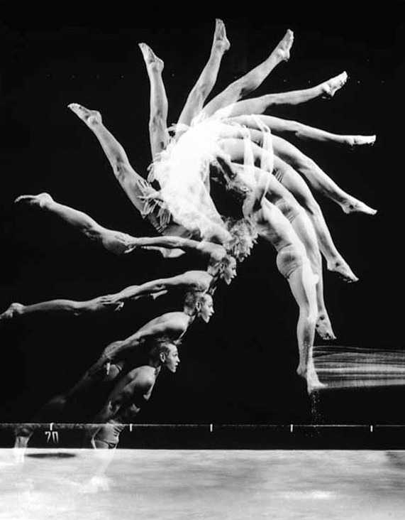 Harold Edgerton- The Anatomy of Movement 1. Cat Jumping Over a Piano Bench, 1938 2. Gus Solomons, 1960 3. Indian Club Demonstration, 1965 4. Back Dive, 1954 5. Tennis Player, 1938 6. Baton, 1953 7. The Golfer, 1960  If you like that then you'll also like this.