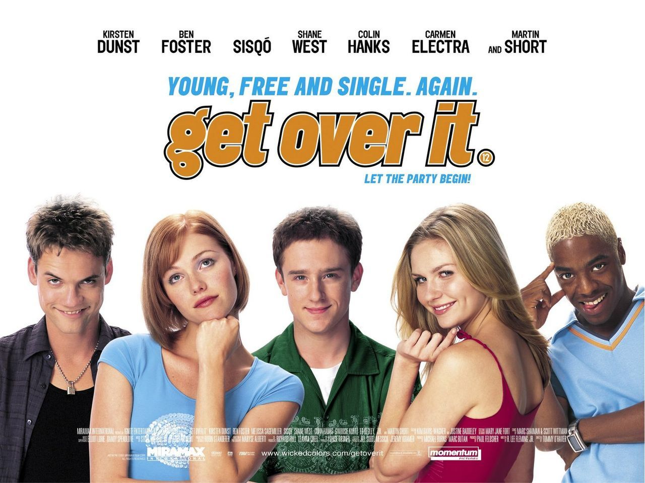 Get Over It is a 2001 American romantic comedy film about a teenage boy whose girlfriend ends their relationship. The film was directed by Tommy O'Haver. The film stars Ben Foster, Kirsten Dunst, Melissa Sagemiller, Sisqó, Colin Hanks, Shane West, and Martin Short