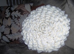 Soft Crocheted Rosette Pillow Sham from designsbydewaltz via (copious)
