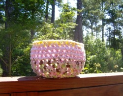 Pink, Green and Yellow Crocheted Basket from designsbydewaltz via (copious)