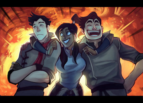 fangirlingforeverz:   Kick ass Team Avatar  This is the makorralin that I ship.