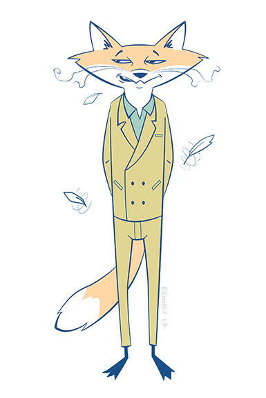 sketchbrooks:  Mr Fox from Fantastic Mr Fox by Roald Dahl Illustration by Jeremy Brooks
