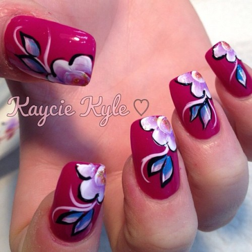 kaykylenails:  Acrylic paint nails #nailart #nails #fashion #floral #creative (Taken with Instagram)