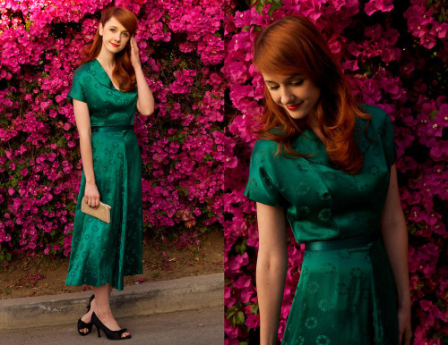 looksbyjane:  Emerald City (by Jane Bennet) The perfect vintage dress I wore to Bing's party last weekend.  Jane's amazing dress from last week.