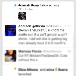Oh shit watch out the one and only Joseph Kony is fooling me on twitter! 😱 Lucky me haha #JosephKony #kony #twitter #FollowMe #@AdamTheGrear35 (Taken with Instagram)