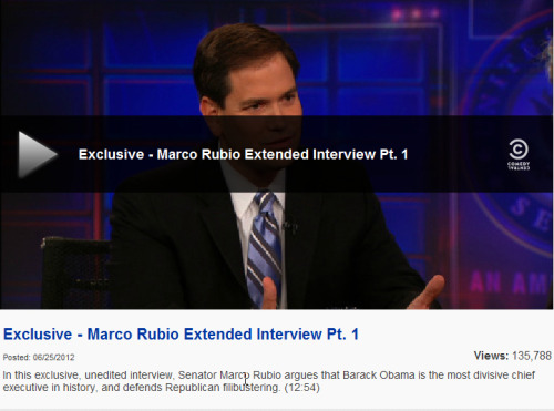 This is what I love. I don't totally agree with Marco Rubio. But The fact that he and Stewart can have a heated, but honest and respectful discussion about policy and politics is a beautiful thing. This reminds me a lot of being at school, those late nights, where you up till 4am discussing policy or other crazy things. Or wait was that school or did that just happen at a wedding I was just at…?