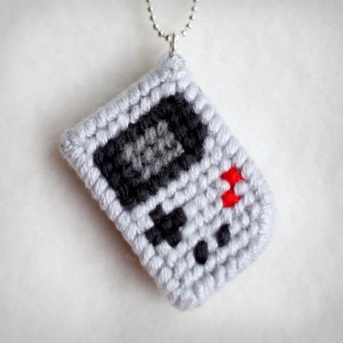 Yarnboy: Miniature woollen Gameboy necklace by Naju via behance