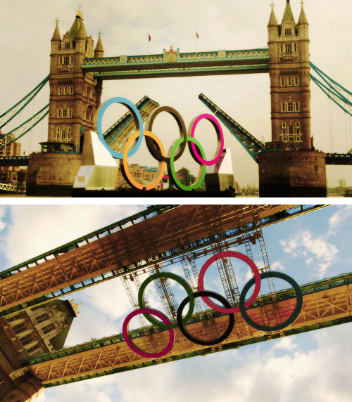 benchwarmerblues:  Olympic Rings Are Unveiled on Tower Bridge in London, England.