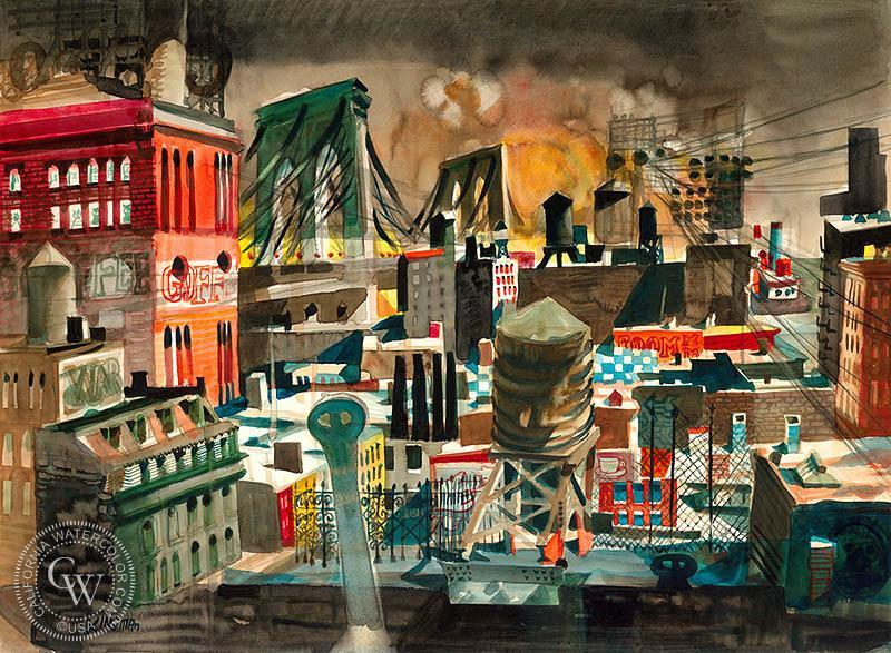 Dong Kingman, Looking East, Brooklyn Bridge, 1948 watercolor Kingman (1911 - 2000) was born in California of Chinese parents. While still a child, he returned with them to China. There, Kingman received art instruction from traditional Chinese watercolorists and Size-To-Wai, a Paris-educated artist who was very knowledgeable about modern art trends.