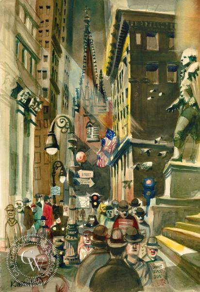 Dong Kingman, Don't Eat Joe, Wall Street, 1948, watercolor Kingman (1911 - 2000) was born in California of Chinese parents. While still a child, he returned with them to China. There, Kingman received art instruction from traditional Chinese watercolorists and Size-To-Wai, a Paris-educated artist who was very knowledgeable about modern art trends.