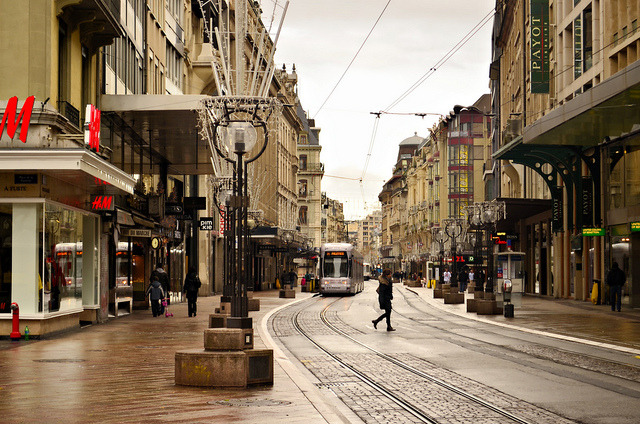 | ♕ |  Tram street in Geneva | by © Piero Damiani
