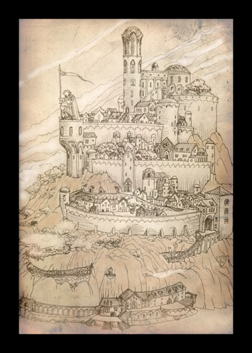legendarium-enthusiast:  Armenelos the Golden - translated as The City of Kings, was the capital and (in later years) the largest city of Númenor. It was named Ar-Minalêth in Adûnaic. It was the greatest city of Men ever built, matching and surpassing the might of Barad-dûr. It was situated in eastern central Númenor, in the district called Arandor, the Kingsland, close to Meneltarma and the haven of Rómenna. It was founded as far back as the end of the First Age, when the Edain first migrated to the island. Conceivably Arandor was the first district they settled after landing in a firth that later led to the haven of Rómenna. Armenelos contained the royal palace, the King's House, reportedly built with the help of the Maiar. Its finishing, together with the coronation of Elros in S.A. 32 marked the beginning of the Númenórean realm. by ~amegusa