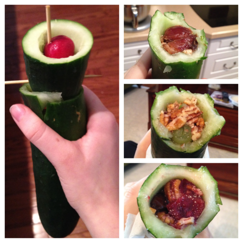 "jennnatals:  The cucumber sandwich torpedo! This is tasty and handy :) Essentially, you can put any tasty combination in this and have a healthy, tasty, portable snack.  A hallowed-out cucumber (I used a small spoon) Dates Pecans Pitted Cherries Grapes  Hallow out the cucumber, layer with ingredients, occasionally smooshing it down with a backwards handle (I used the back of a wooden spoon for this) it's super tasty. Look up ""Gorrila Sandwich"" on YouTube for inspiration."