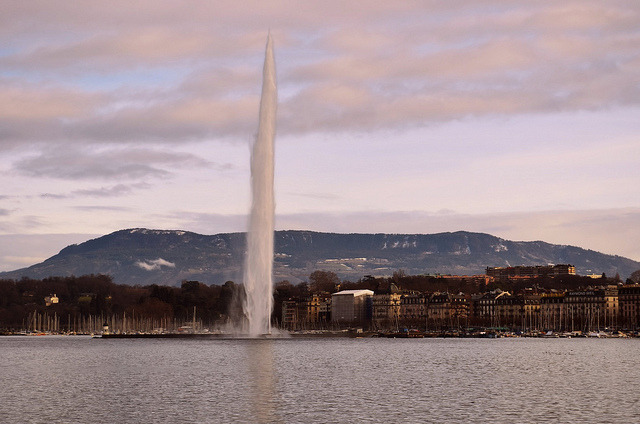 | ♕ |  Lake Geneva at dusk - Swiss winter  | by © Piero Damiani