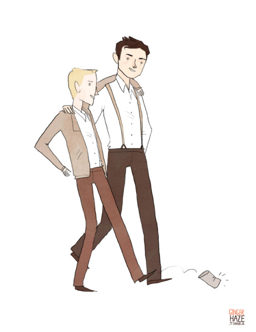 gingerhaze:  A commission for quigonejinn, who asked for pre-serum Steve and Bucky killing time in 1943 New York!