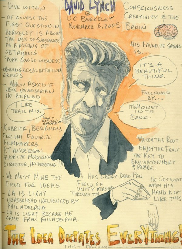heyoscarwilde:  The Idea Dictates Everything A David Lynch speech circa 2005 captured and illustrated by John Hoffman :: via monkeyfeather.blogspot.ca