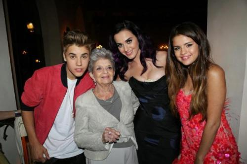 Justin, Selena, Katy Perry, and her grandmother last night