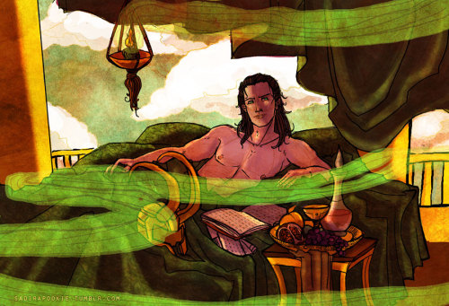 sadirapookie:  Prince Loki in his bedchambers.