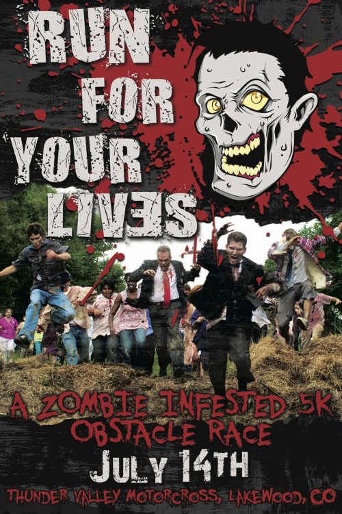 I'm running in the Run For Your Lives Zombie 5K on July 14th this year! Very excited for this… and 2 days before my 30th Bday!