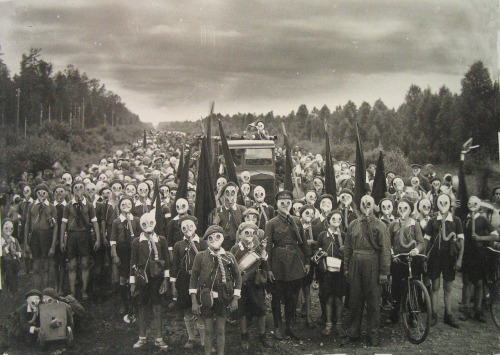 """Pioneers in Defense Drill, Leningrad, 1937"" by Viktor Bulla"