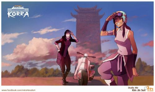 maistiletto:  [Studio Mir just posted this and I AM DYING BECAUSE KORRASAMI FEELINGS]  Head canon that next season Asami is going to become Korras driving master.