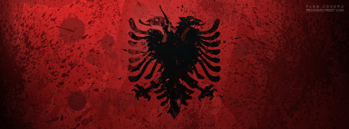 Paint Splattered Albanian Flag Facebook Cover