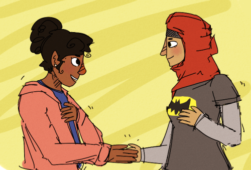 rule63rules:  [Image: Rule 63'd Troy and Abed from Community, doing their handshake. Troy has her hair up in a bun/ponytail, and Abed is wearing a red headscarf and a batman t-shirt.] yuzufruit:  troy and abed now as laaaaaadies.
