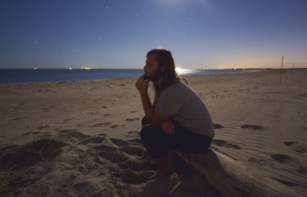 My friend Shane Farnsworth at the beach at night