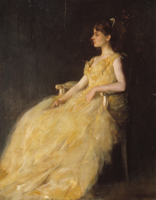 in-the-middle-of-a-daydream:  Lady in Yellow by Thomas Wilmer Dewing