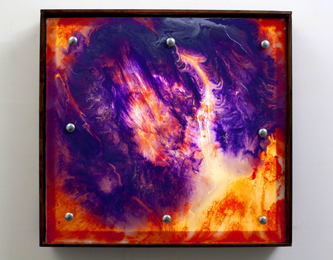 John Romang uses ink and resin to created free flowing organic shapes that are frozen in time. Each work is illuminated with a florescent light.